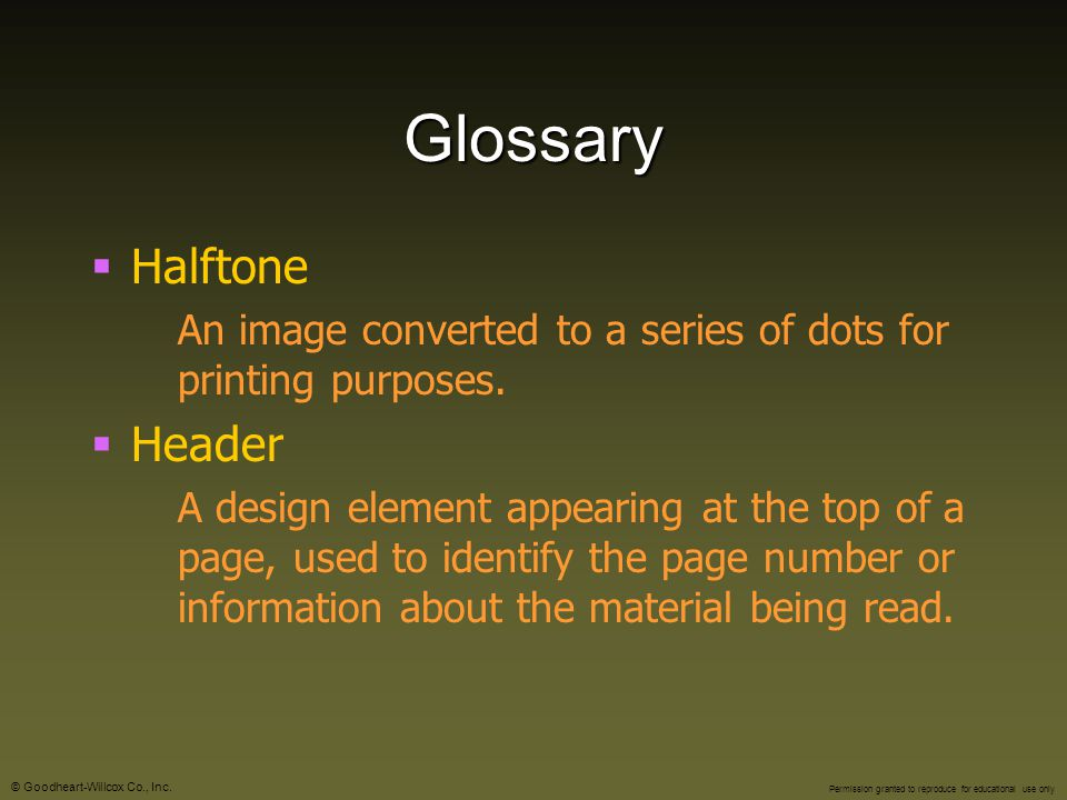 Glossary Halftone Header