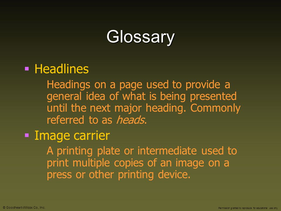 Glossary Headlines Image carrier