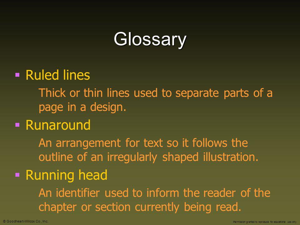Glossary Ruled lines Runaround Running head