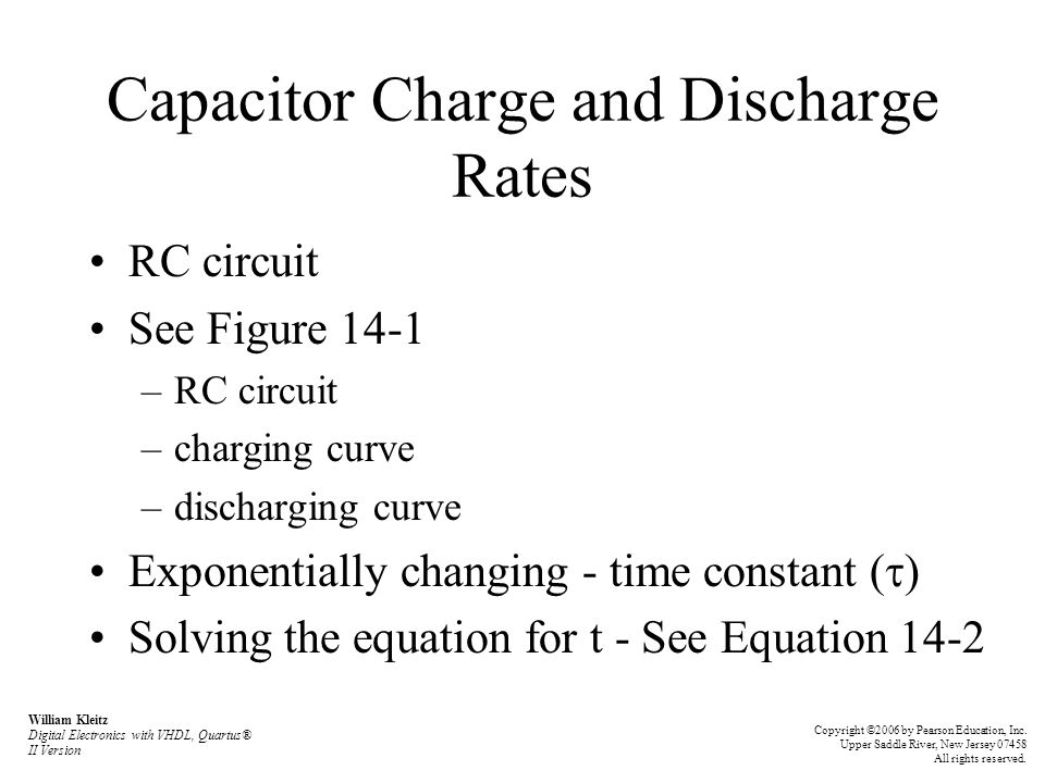 Capacitor Charge and Discharge Rates