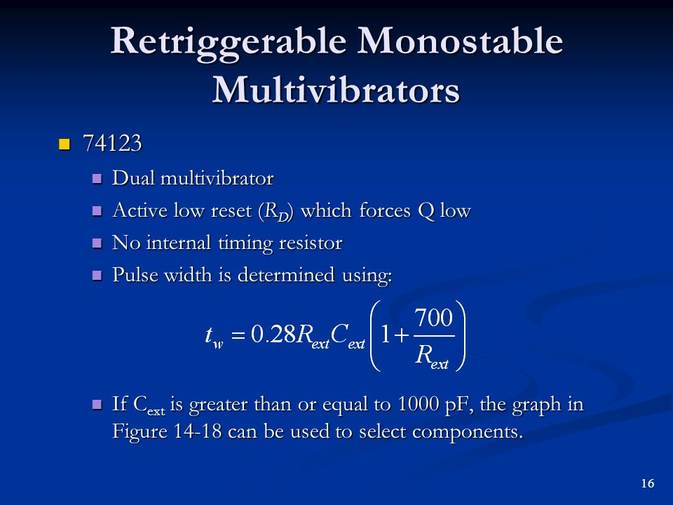 Retriggerable Monostable Multivibrators