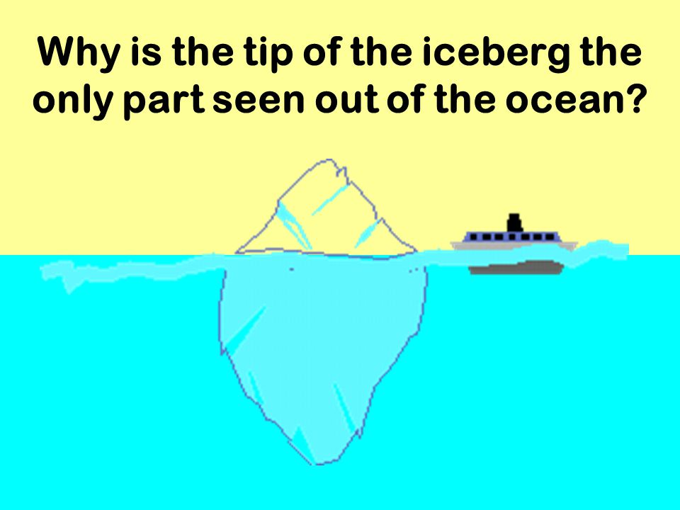 Why is the tip of the iceberg the only part seen out of the ocean