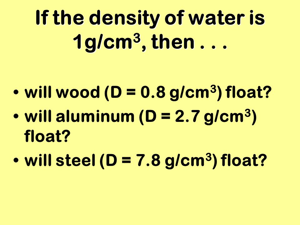 If the density of water is 1g/cm3, then . . .