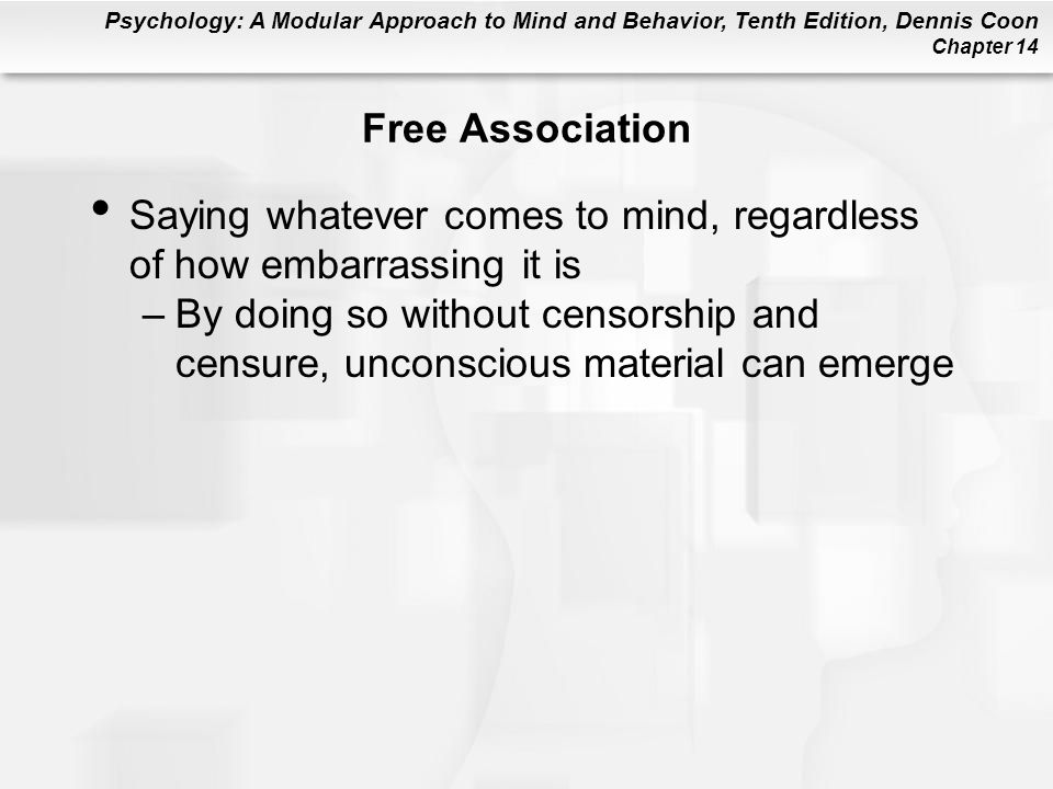 Free Association Saying whatever comes to mind, regardless of how embarrassing it is.