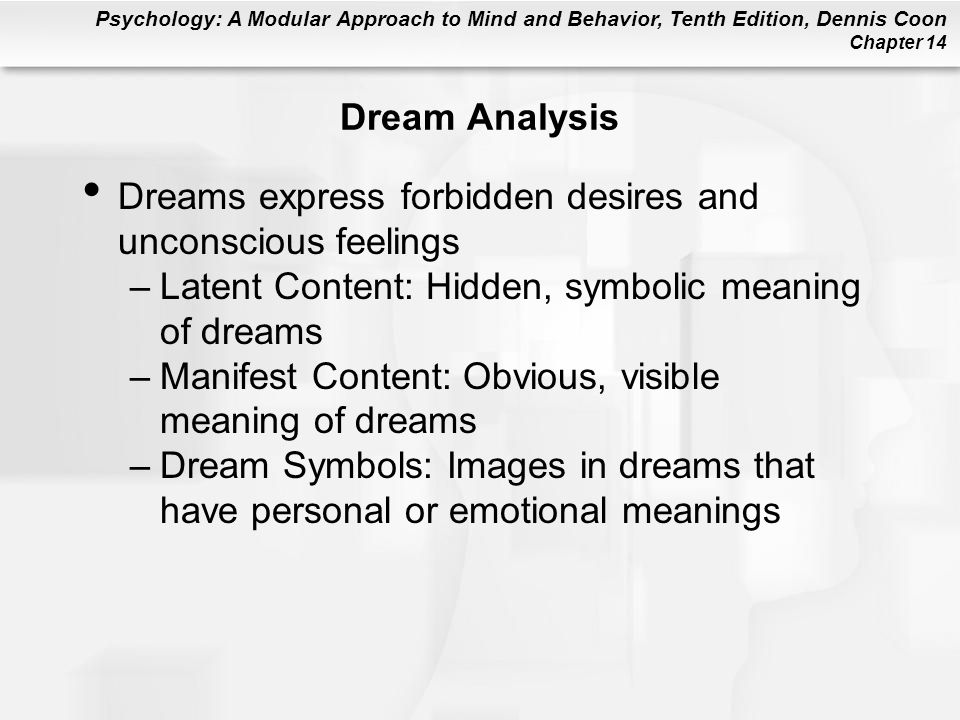 Dream Analysis Dreams express forbidden desires and unconscious feelings. Latent Content: Hidden, symbolic meaning of dreams.