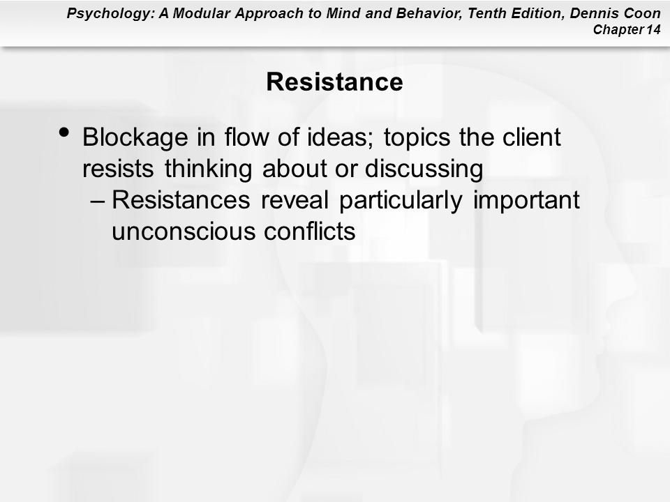 Resistance Blockage in flow of ideas; topics the client resists thinking about or discussing.