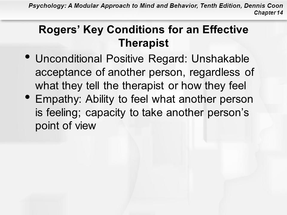 Rogers' Key Conditions for an Effective Therapist