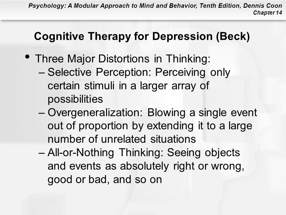 beck s cognitive theory of depression Beck's cognitive theory of depression main idea according to beck (1996), depression is the result of faulty cognitive processes the emotional and physical symptoms are a consequence of the thinking patterns that beck assumes to be the cause of the disorder.