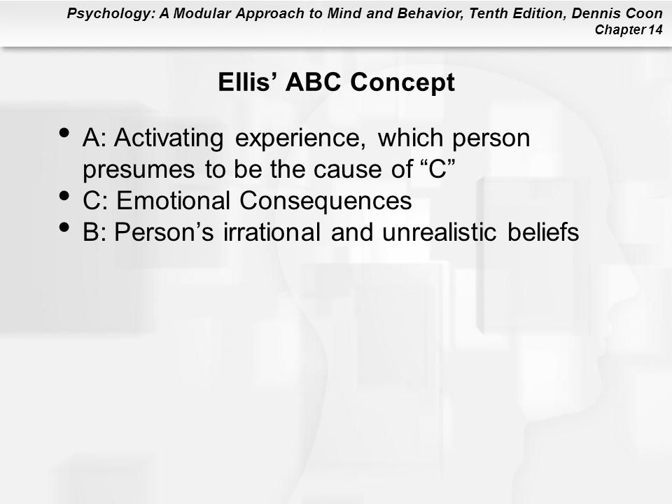 Ellis' ABC Concept A: Activating experience, which person presumes to be the cause of C C: Emotional Consequences.
