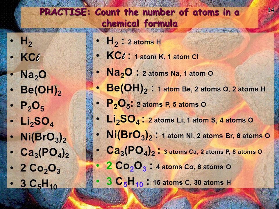 PRACTISE: Count the number of atoms in a chemical formula