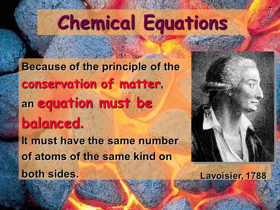 Chemical Equations balanced. conservation of matter,