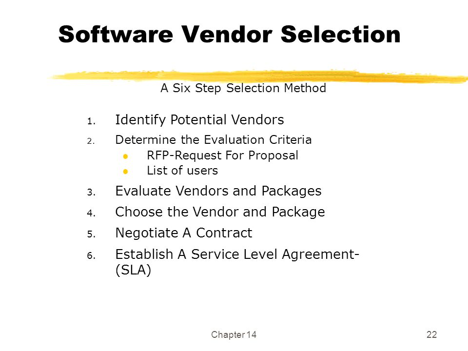 Acquiring it applications and infrastructure ppt video for Software vendor selection criteria template