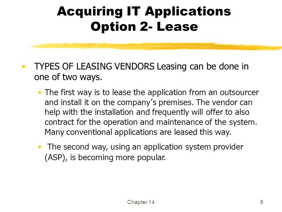 Acquiring IT Applications Option 2- Lease