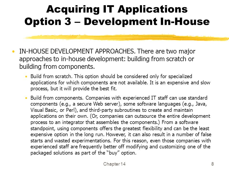 Acquiring IT Applications Option 3 – Development In-House