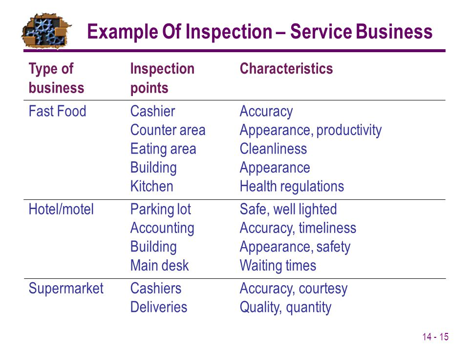 Example Of Inspection – Service Business