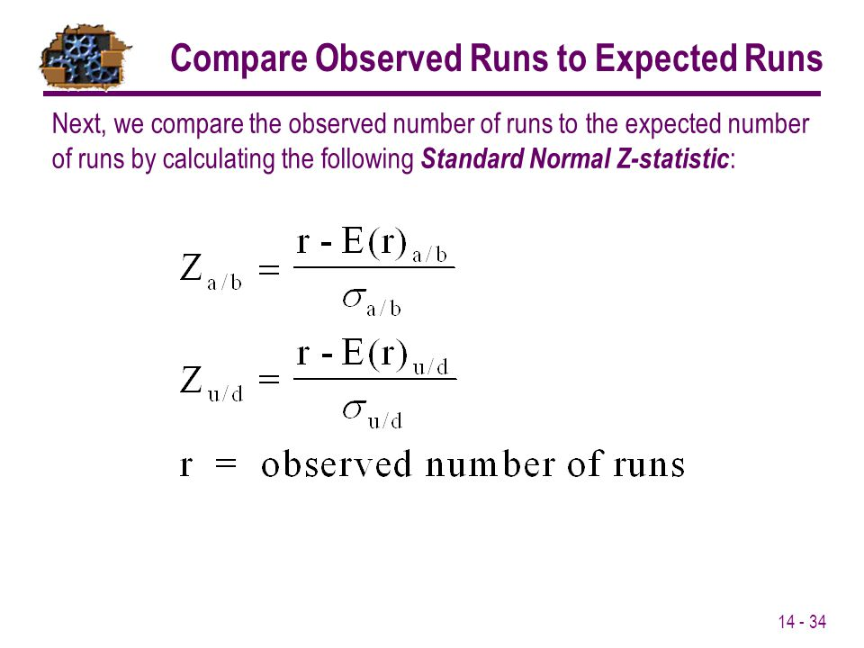 Compare Observed Runs to Expected Runs