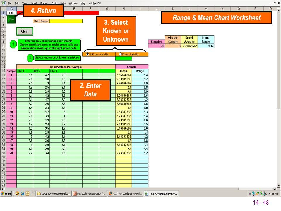 Range & Mean Chart Worksheet