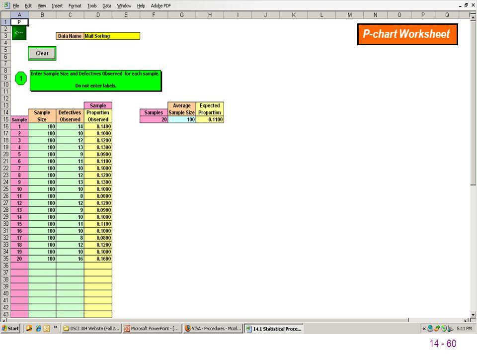 P-chart Worksheet