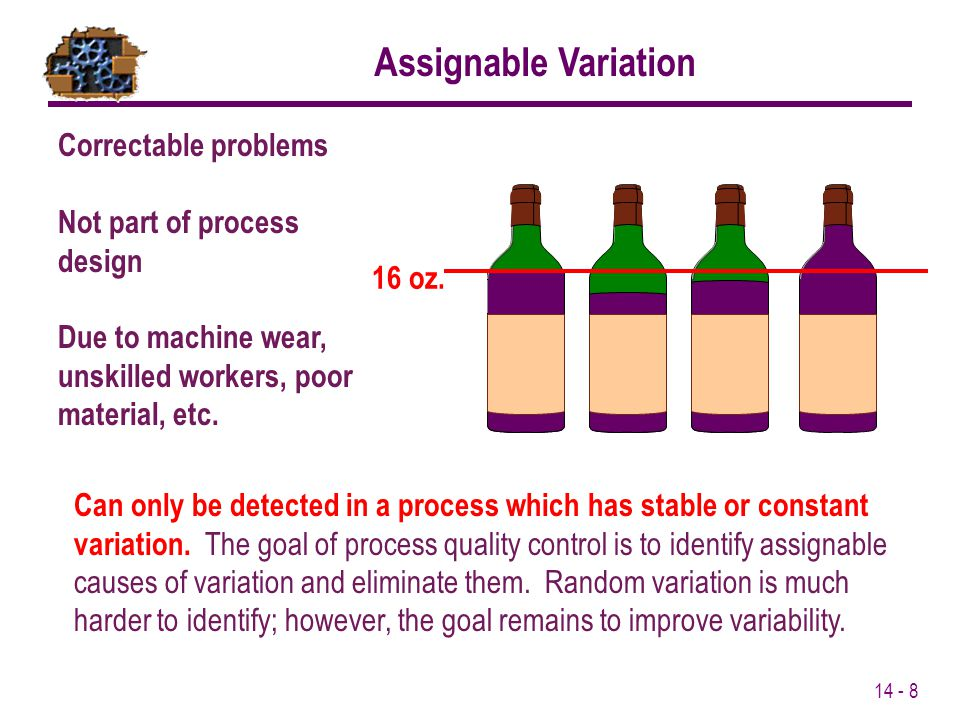 Assignable Variation Correctable problems Not part of process design