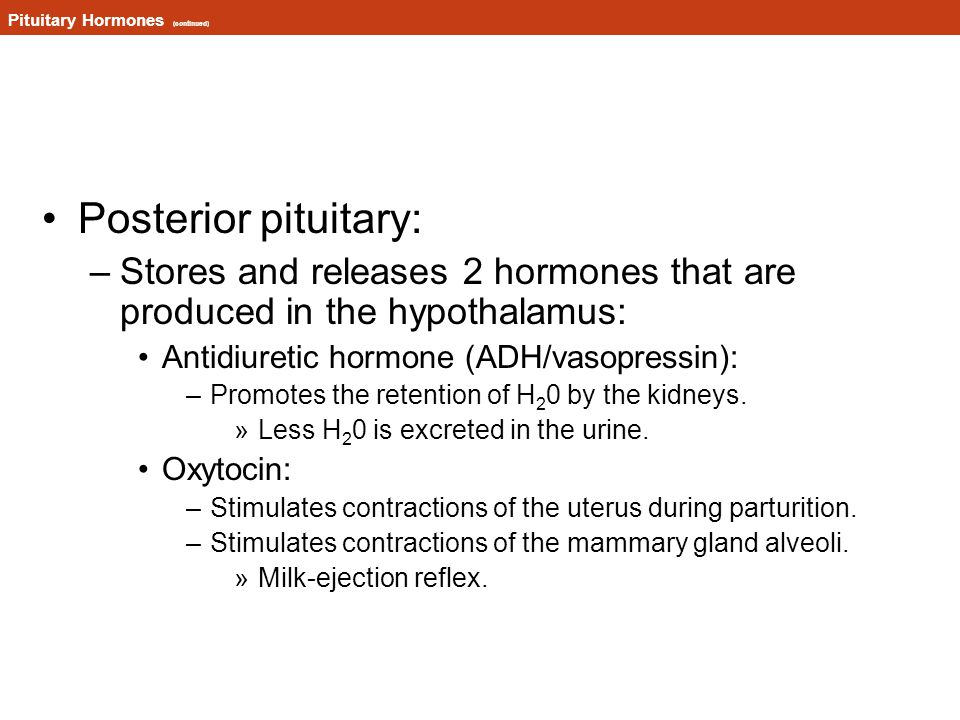 Pituitary Hormones (continued)