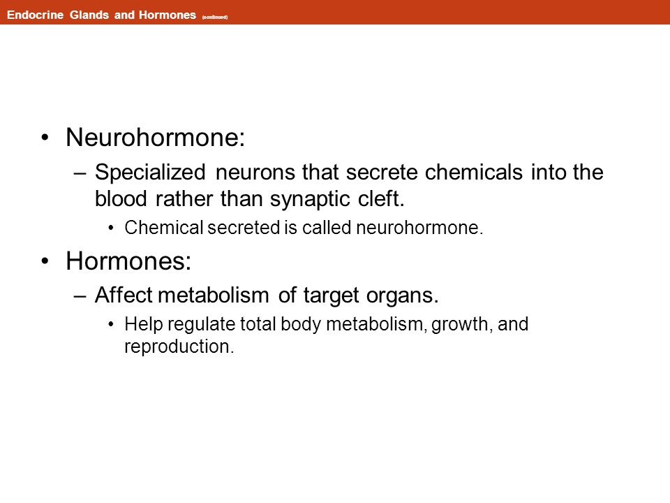 Endocrine Glands and Hormones (continued)