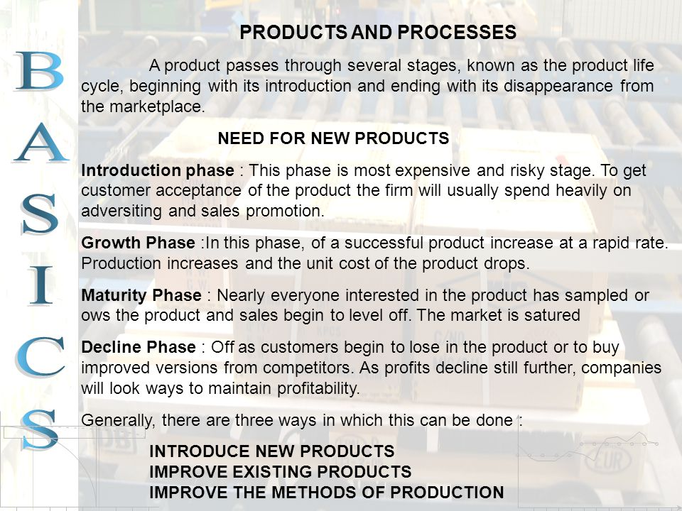 PRODUCTS AND PROCESSES