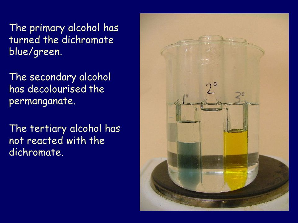 The primary alcohol has turned the dichromate blue/green.