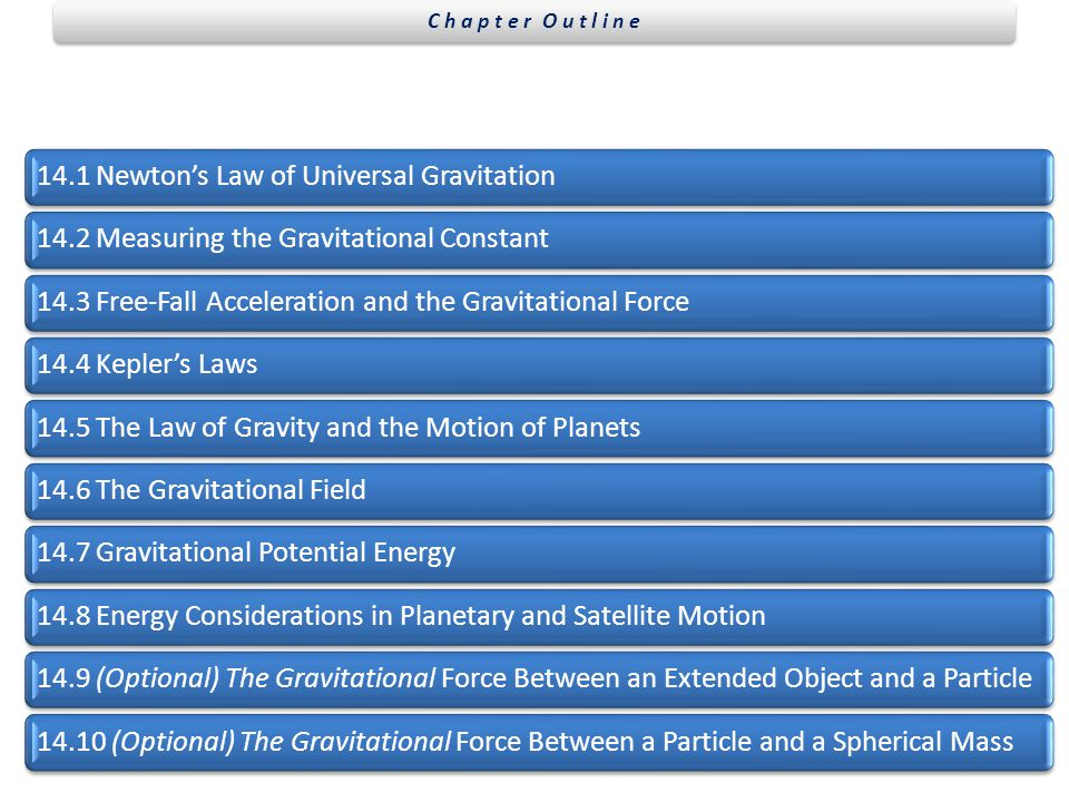 C h a p t e r O u t l i n e 14.1 Newton's Law of Universal Gravitation Measuring the Gravitational Constant.