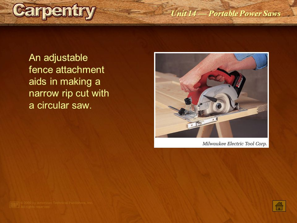 An adjustable fence attachment aids in making a narrow rip cut with a circular saw.