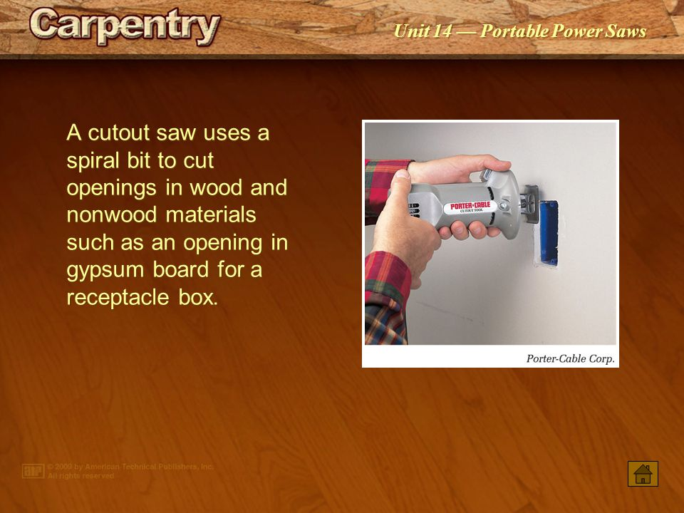 A cutout saw uses a spiral bit to cut openings in wood and nonwood materials such as an opening in gypsum board for a receptacle box.