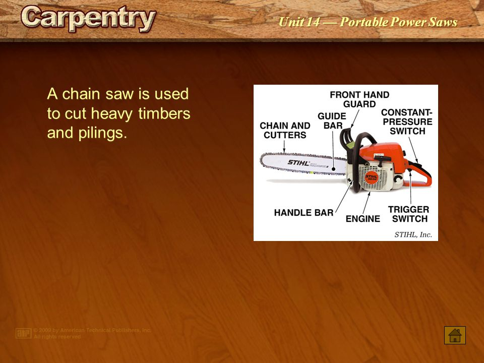 A chain saw is used to cut heavy timbers and pilings.