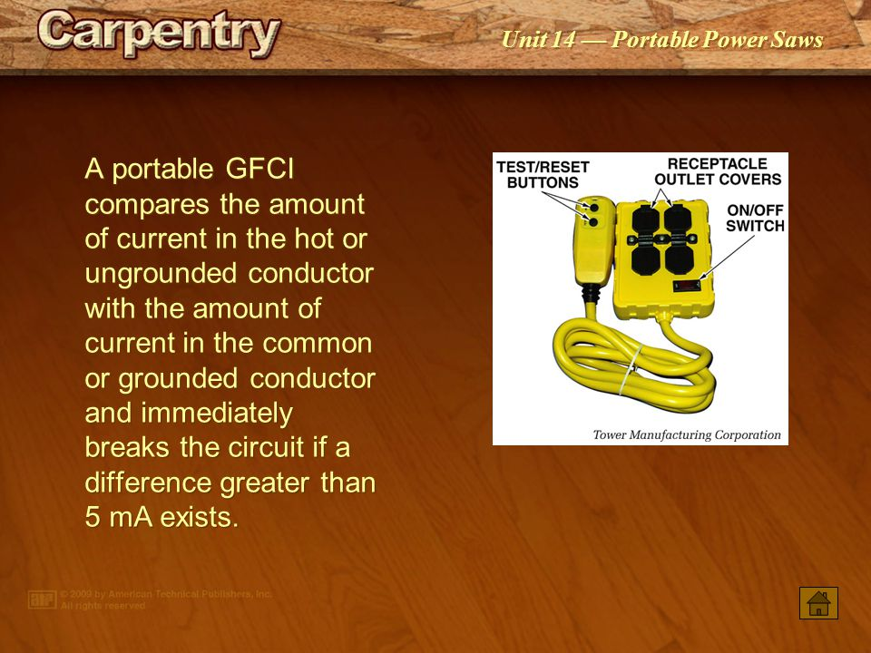 A portable GFCI compares the amount of current in the hot or ungrounded conductor with the amount of current in the common or grounded conductor and immediately breaks the circuit if a difference greater than 5 mA exists.