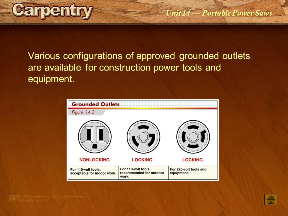 Various configurations of approved grounded outlets are available for construction power tools and equipment.