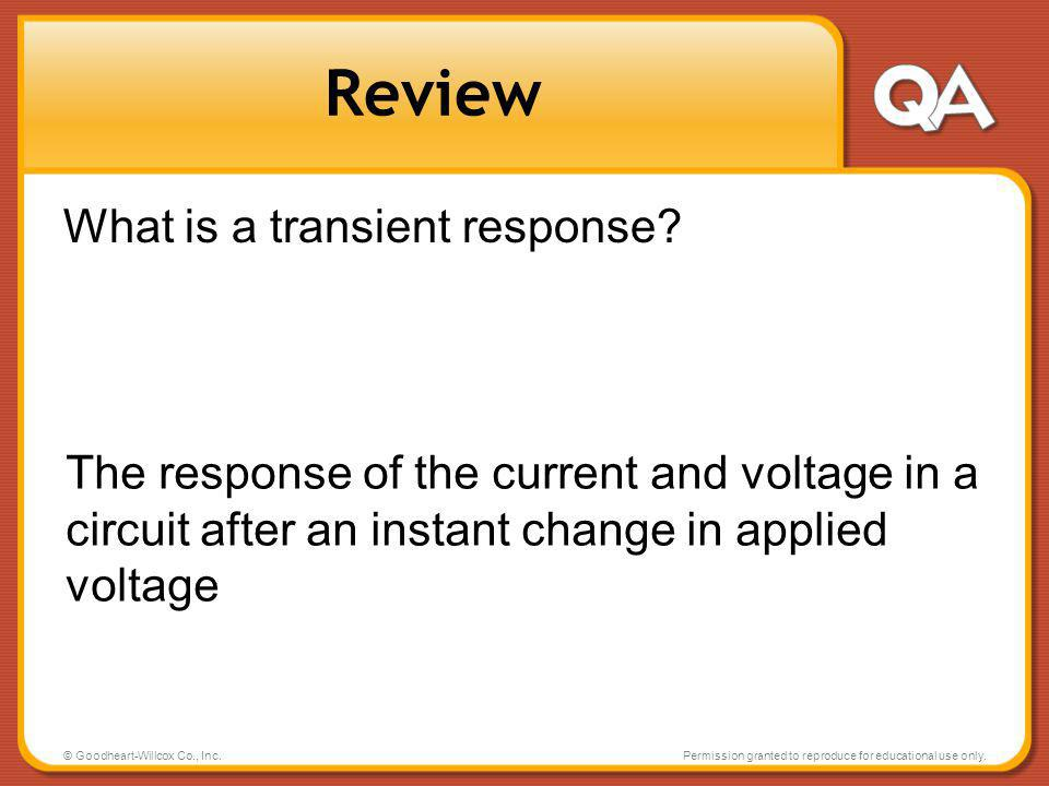 Review What is a transient response