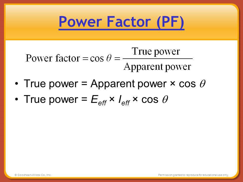 Power Factor (PF) True power = Apparent power × cos 