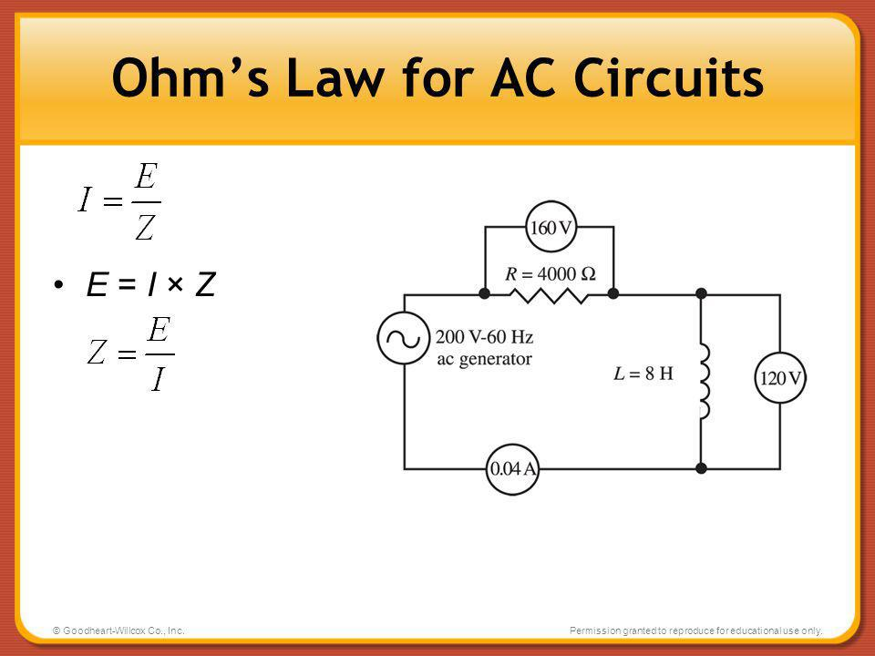 Ohm's Law for AC Circuits