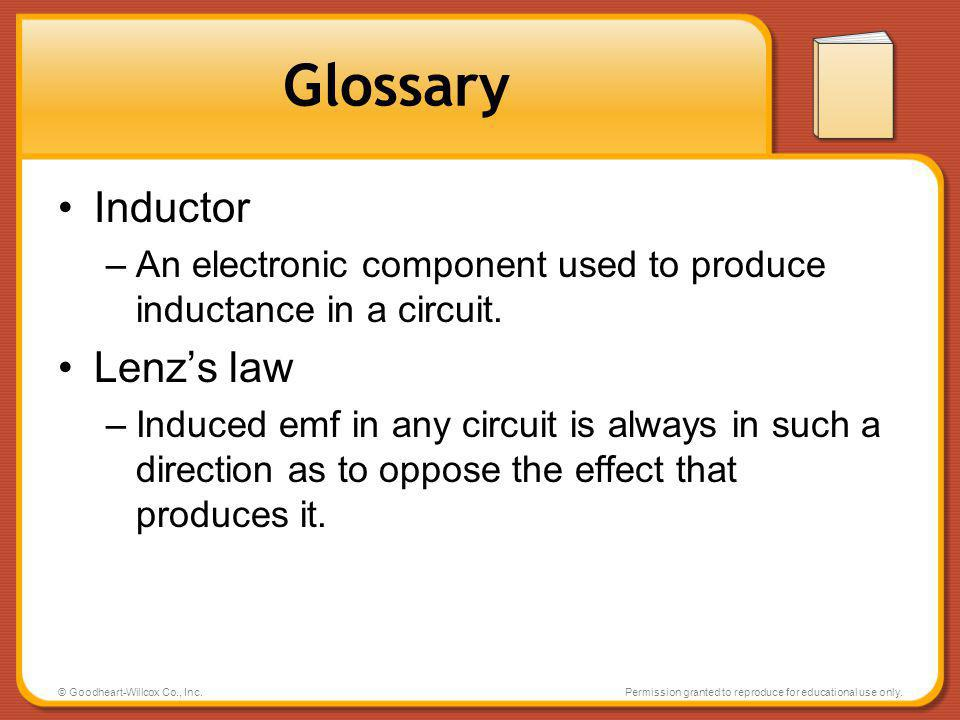 Glossary Inductor Lenz's law