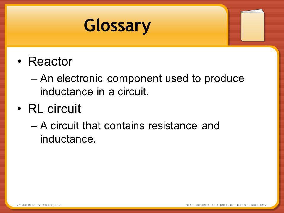 Glossary Reactor RL circuit