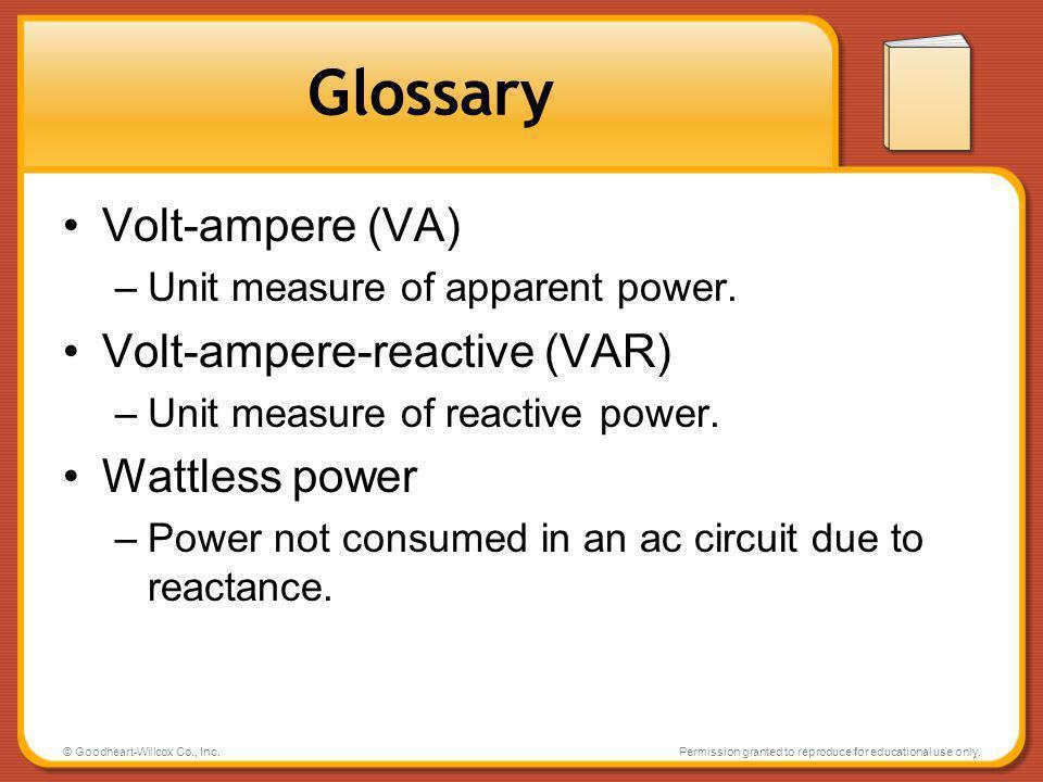 Glossary Volt-ampere (VA) Volt-ampere-reactive (VAR) Wattless power