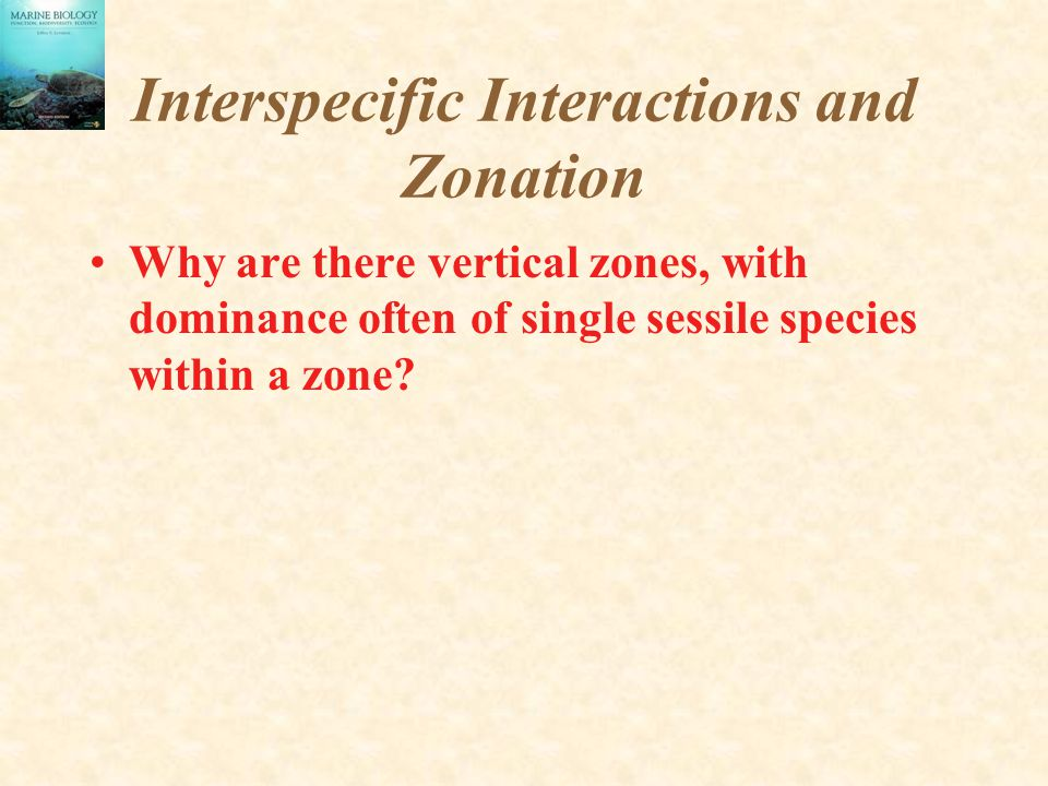 Interspecific Interactions and Zonation