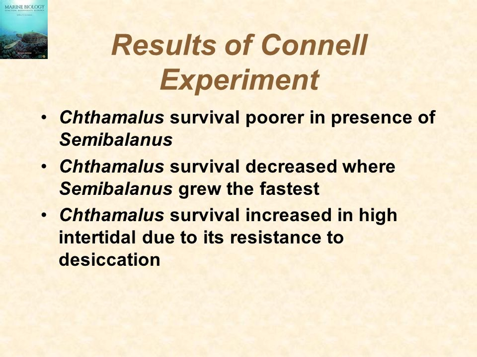 Results of Connell Experiment