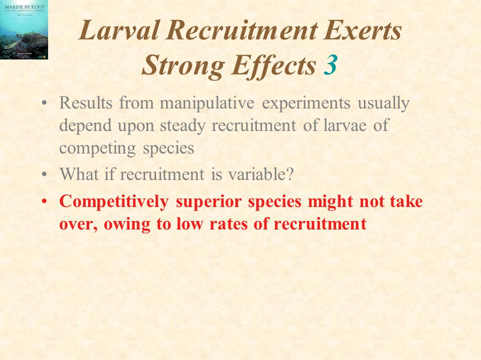 Larval Recruitment Exerts Strong Effects 3