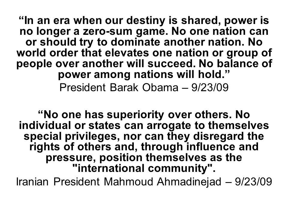 President Barak Obama – 9/23/09