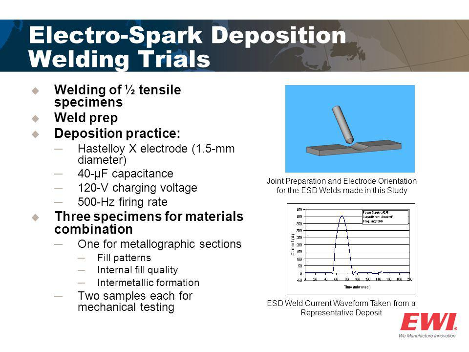 Electro-Spark Deposition Welding Trials