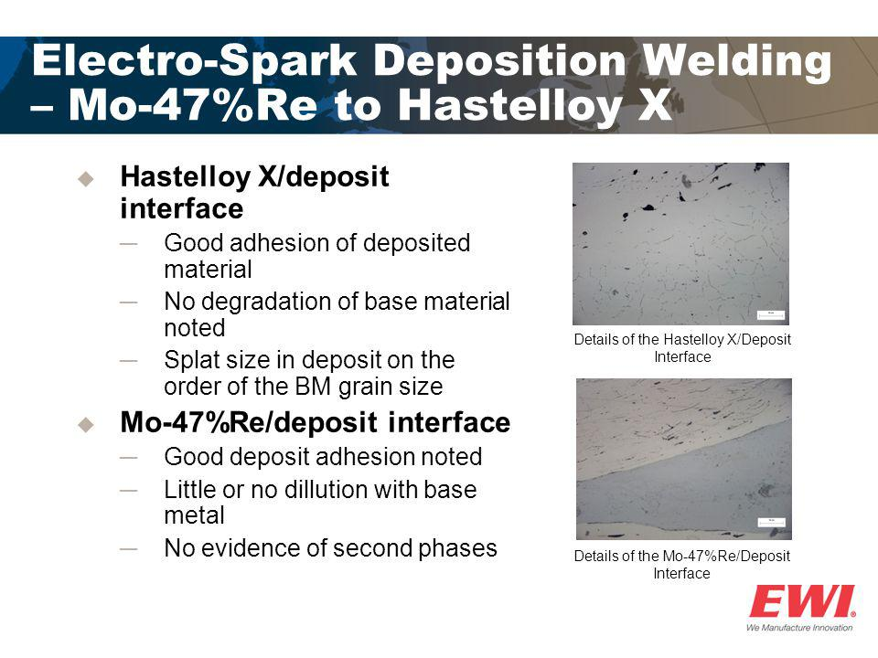Electro-Spark Deposition Welding – Mo-47%Re to Hastelloy X