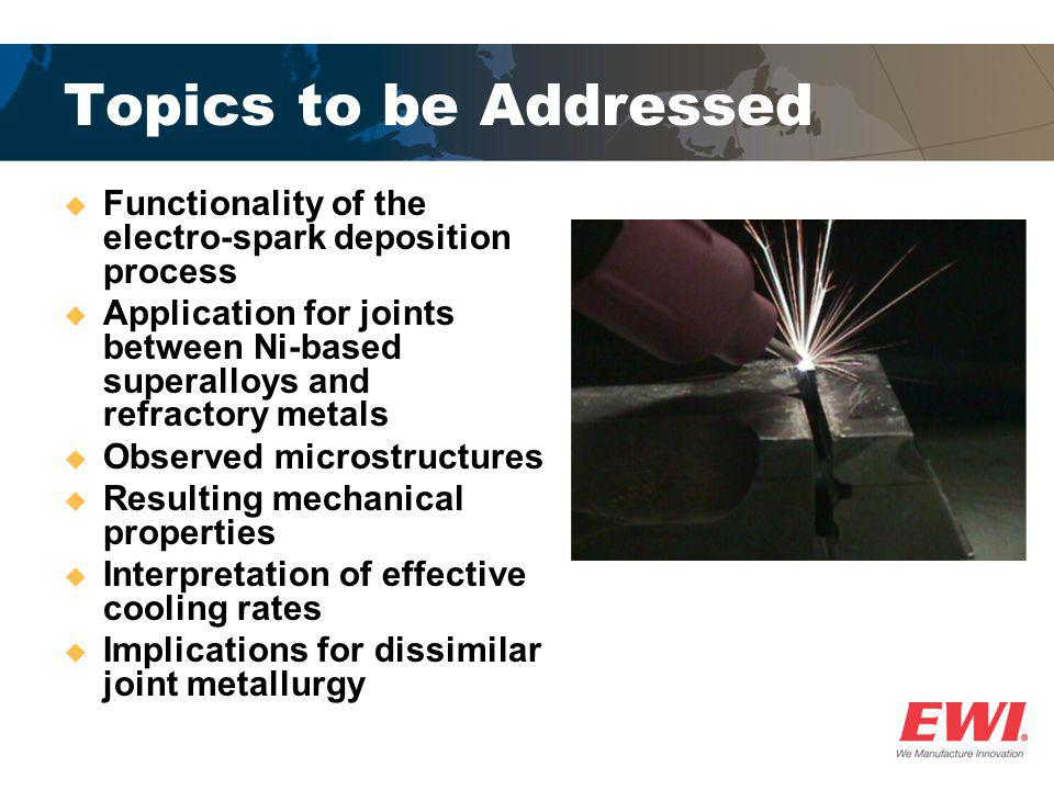 Topics to be Addressed Functionality of the electro-spark deposition process.