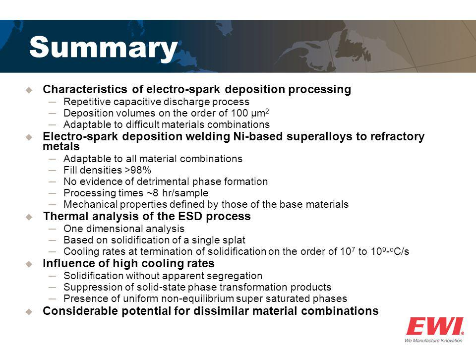 Summary Characteristics of electro-spark deposition processing