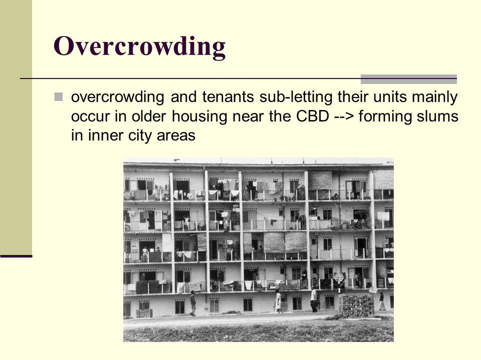 Overcrowding overcrowding and tenants sub-letting their units mainly occur in older housing near the CBD --> forming slums in inner city areas.