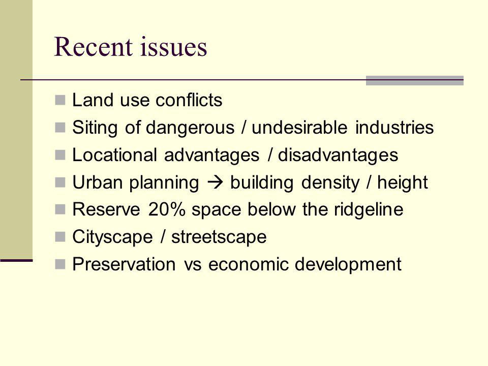Recent issues Land use conflicts
