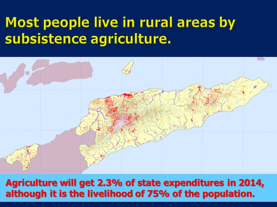 Most people live in rural areas by subsistence agriculture.